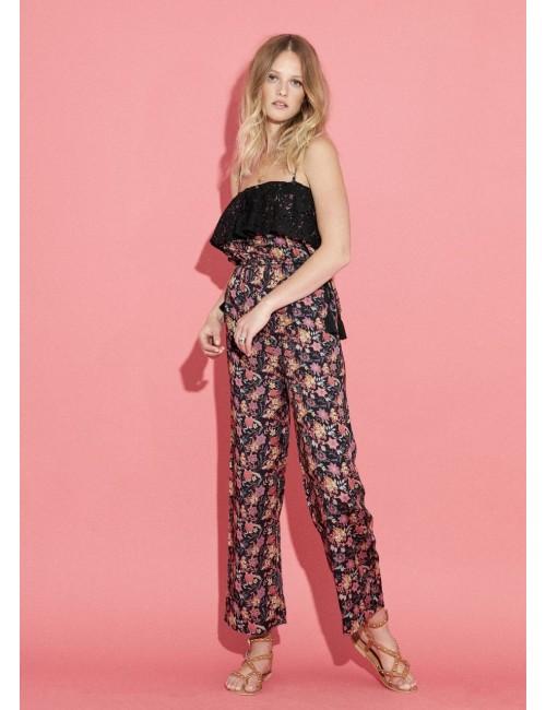 Combinaison-pantalon bustier imprimée fleurs dentelles noires - Boutique l'ananas