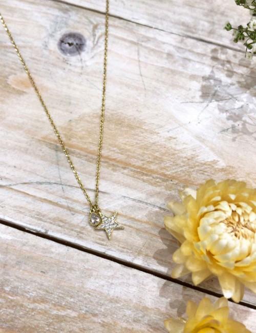 Collier pendentif étoile strass - Boutique l'ananas