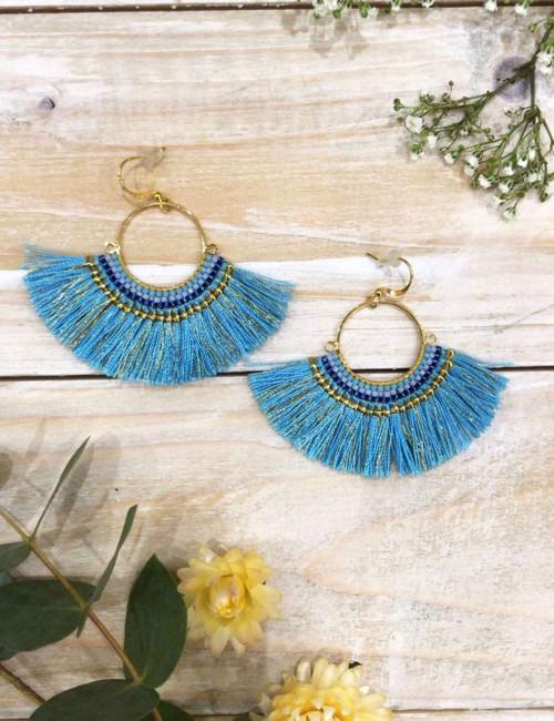 Boucles d'oreilles bleues à franges colorées bohème - Boutique l'ananas