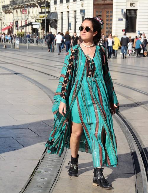 Kimono long style bohème manches évasées vert à rayures - Boutique l'ananas