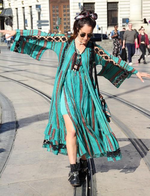 Kimono long style bohème manches évasées - Boutique l'ananas