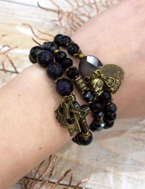 Bracelet/collier bleu nuit - Boutique l'ananas
