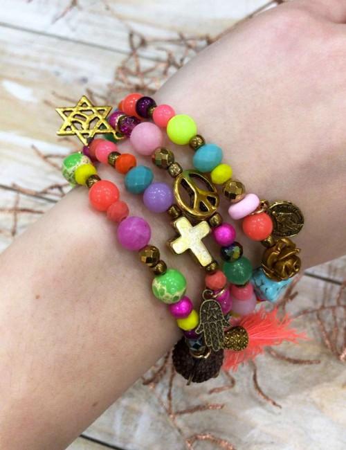 Bracelet/collier multicolores bohème - Boutique l'ananas